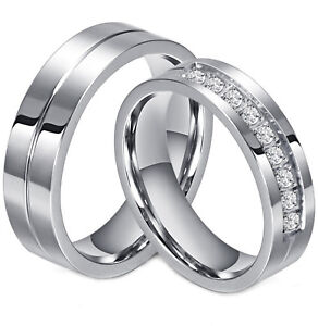 Couple-039-s-Matching-Ring-His-or-Hers-Stainless-Steel-Comfort-Fit-Wedding-Band
