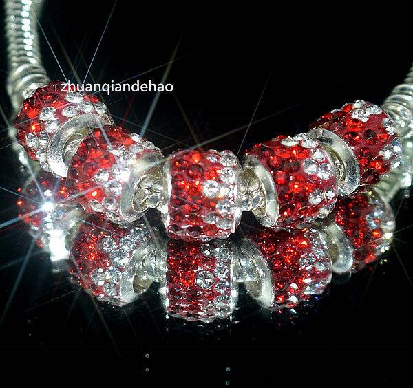 5pcs Gorgeous Czech Crystals Dangle Bead fit European Charm Bracelet K920
