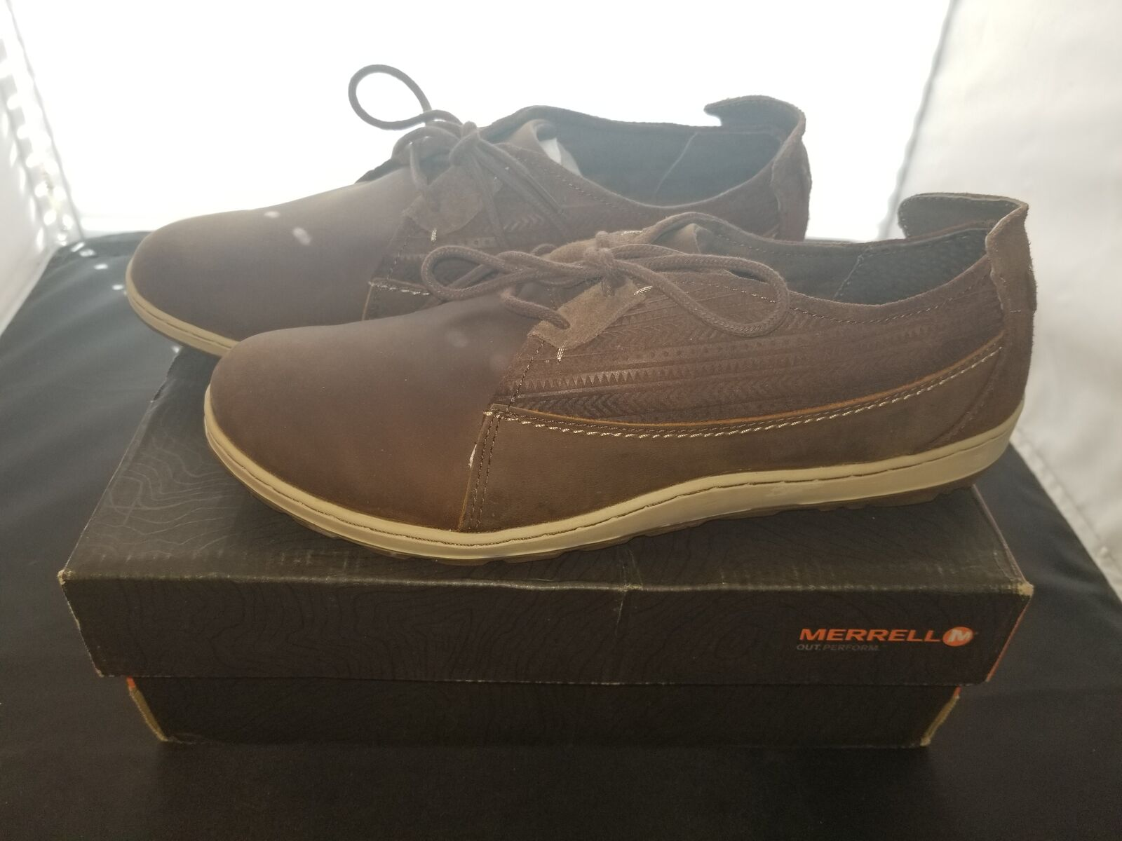 NIB Merrell Taglia 10.5 Medium Ashland Tie marrone Sugar Colorway Oxford Scarpe NEW
