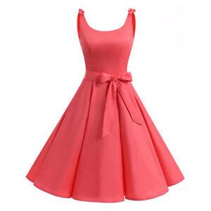 Details about Women 50s Audrey Hepburn Style Vintage Dress Sleeveless Chic  Party Retro Dresses