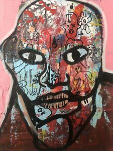 Hasworld-Original-painting-signed-Pop-Art-Impressionism-abstract-Head-graffiti