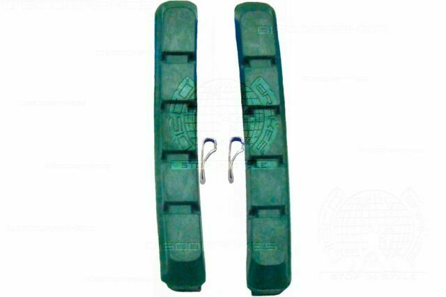 4 Pairs//8Pads Replacement Rubber V Brake Pads for Ceramic Rims Green 72mm Shoes