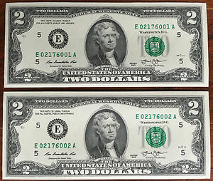 US $2.00 $2 BILL NOTE CONSECUTIVE SERIAL NUMBERS 2013 BRAND NEW UNCIRCULATED !!!