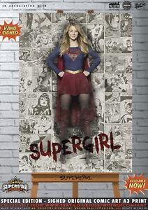 Supergirl-Melissa-Benoist-TV-Superman-Comic-SUPERSTAR-A3-Signed-Print