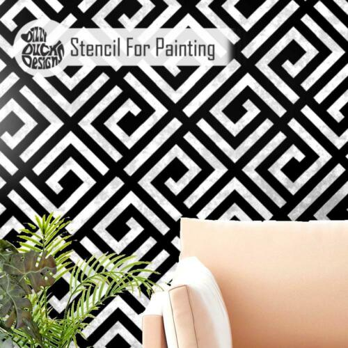 GEO MAZE Geometric Wall Floor Furniture Stencil for Painting