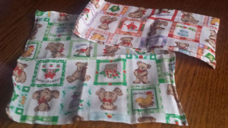 2 Stück Taschentücher 26 X 26cm Kinder Baumwolle Grün Orange Teddy Huhn Neu