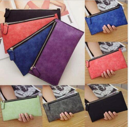 NEW Matte PU Leather Women/'s Long Wallet Ladies Card Purse Clutch Handbag Bag