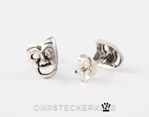 925-Silber Ohrstecker Theater-Maske Echt Silber Acryl-Döschen Neu