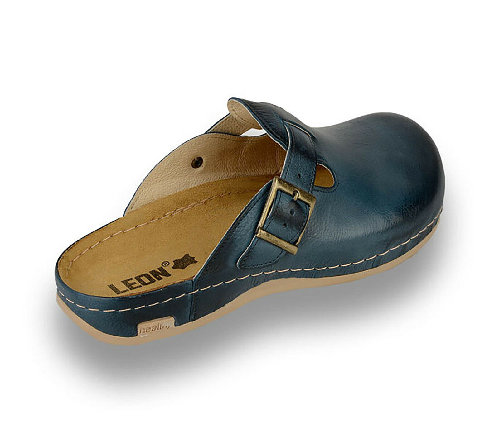 LEON 707 Mens Leather Slip On Mules Clogs Sandals UK Slippers Shoes, Blue, New UK Sandals d0e290