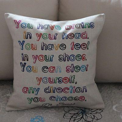Vintage Dr.Seuss Quotes Cotton Linen Cushion Cover Throw Pillow Home Decor B351