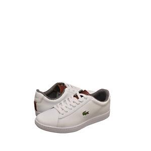 Uomo-Scarpe-LACOSTE-CARNABY-EVO-318-2-SPM-Sneaker-36SPM0010385-bianco-marrone-NUOVO