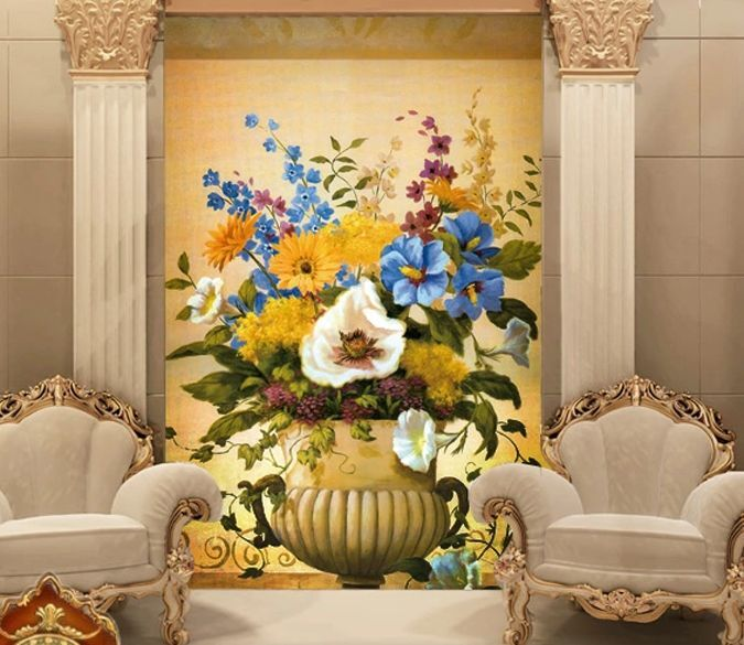 3D Flower Basket Picture 0059 Wall Paper Wall Print Decal Wall Deco AJ WALLPAPER