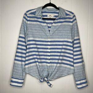 Vineyard Vines Women's Striped Tie Front Button Shirt Blue White Linen Cotton 10