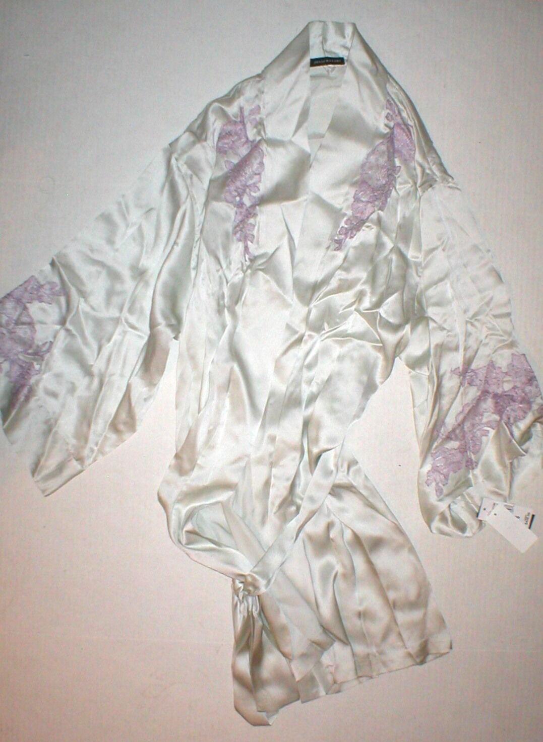 NWT  775 New Designer Josie Natori Silk Lace Womens Gown Robe S Grey Purple Set