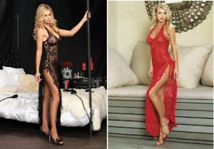 Long-Sheer-Nightgown-Red-Black-Lace-Up-Sexy-Nightdress-Size-8-10-12-Leg-Avenue