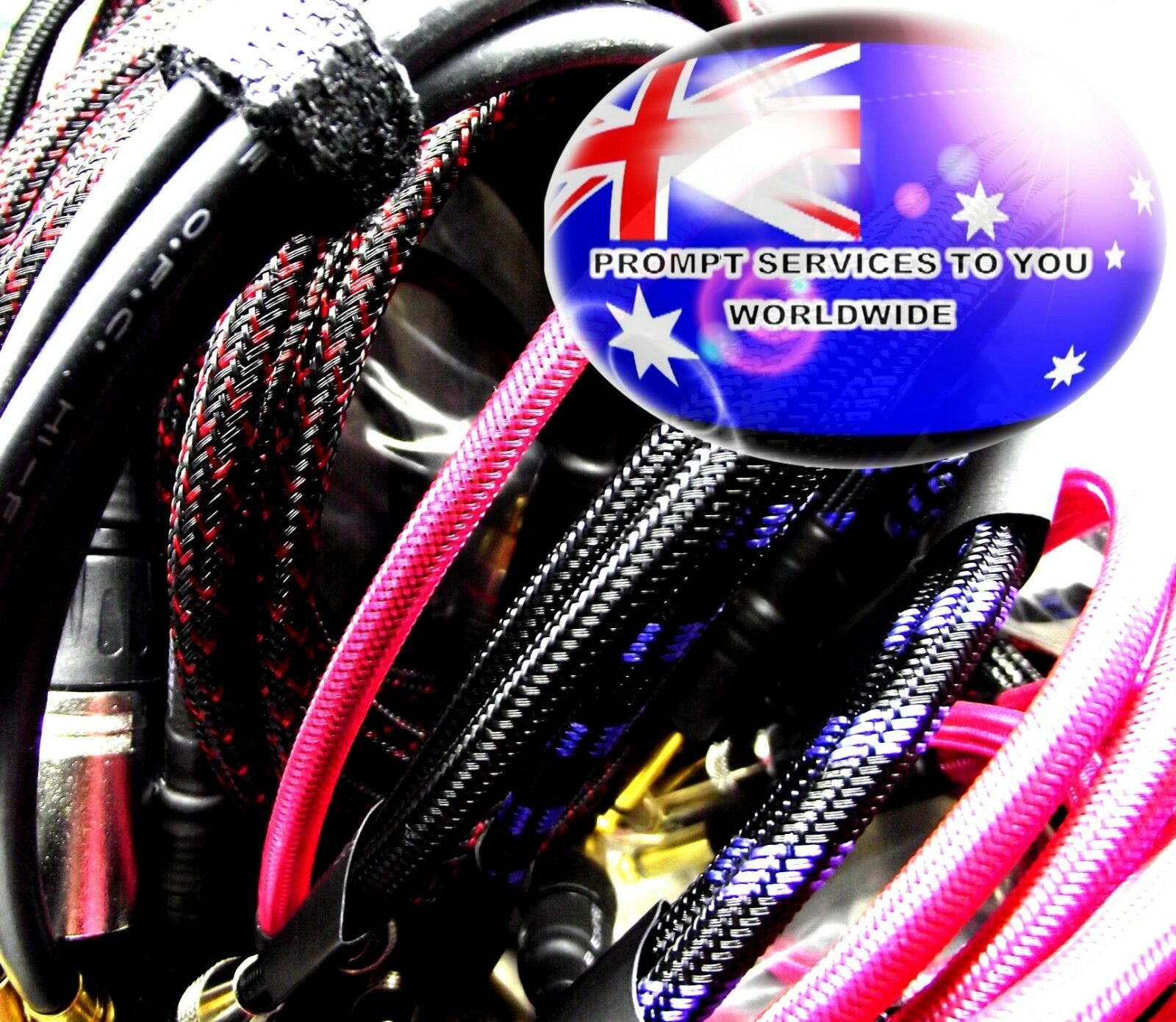 From OZ Quality 6PC CUSTOM TRS Patch Lead Wire Cable Male Plug Braided +FREEPOST