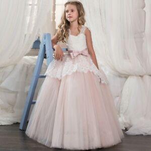 95b920df256b7 Details about Pink Elegant Princess Gowns Flower Girl Dress Wedding Party  Birthday Bridesmaid