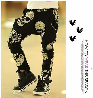 Skull Toddler Kids Boy Girl Harem Pants Trousers Slacks Bottoms Clothes For 3-7Y