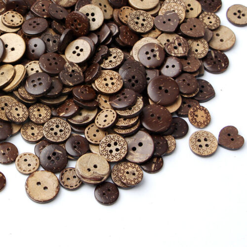 50Pcs 18mm Mix Shape Brown Coconut Shell 2//4 Hole Wooden Buttons Sewing