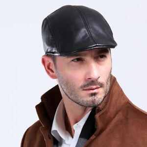 100% GENUINE Leather Ivy Cap Mens Black Gatsby Newsboy Golf Driving ... 62125d785c7