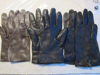 3 Paar Edle Damenlederhandschuhe, Gr.7, Schwarz U.braun,