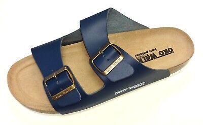 Öko Walk Luftpolster Schuhe Pantolette Sandale Bio Tieffußbett 030-457 blau Theo