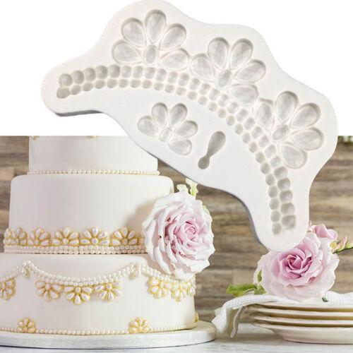 Beads Jewel Border Silicone Fondant Cake Mold Sugarcraft Choolate Baking Mould
