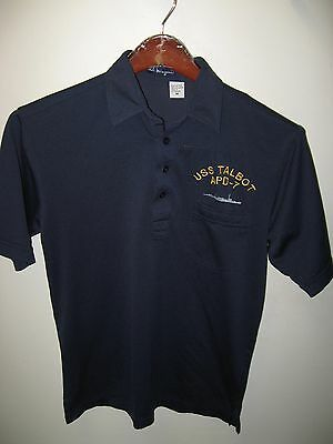 United States Navy USS Talbot APD-7 Naval Ship Vintage Thin Poly Polo Shirt Med