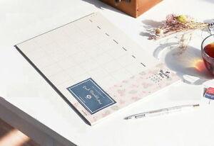 Monthly Note Pad Planner Organizer Pattern Scheduler Book Desk ige