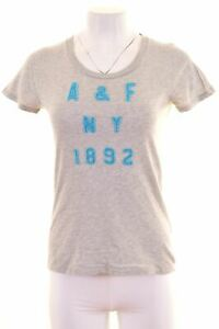 Abercrombie-amp-Fitch-Damen-Graphic-T-Shirt-Top-Groesse-12-mittel-grau-Baumwolle-ga05