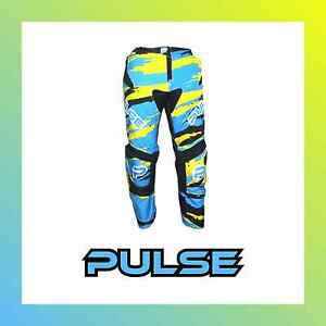 PULSE-KIDS-MOTOCROSS-MX-BMX-MOUNTAIN-BIKE-PANTS-BLIZZARD-NEON-BLUE-amp-YELLOW