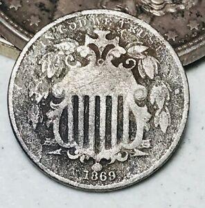 1869 Shield Nickel 5 Cents 5C Ungraded Civil War Era Good Details US Coin CC5632