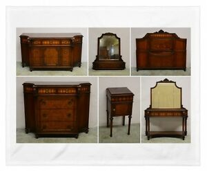 Herman Miller The All Walnut Line Carved Inlaid Bedroom Set - Herman miller bedroom furniture