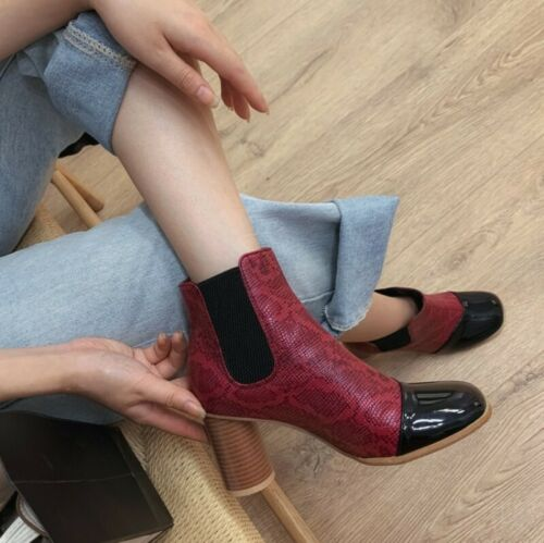 Details about  /Women Ankle Boots Block Heels Chelsea Pull On Round Toe Booties Cowboy Shoes New