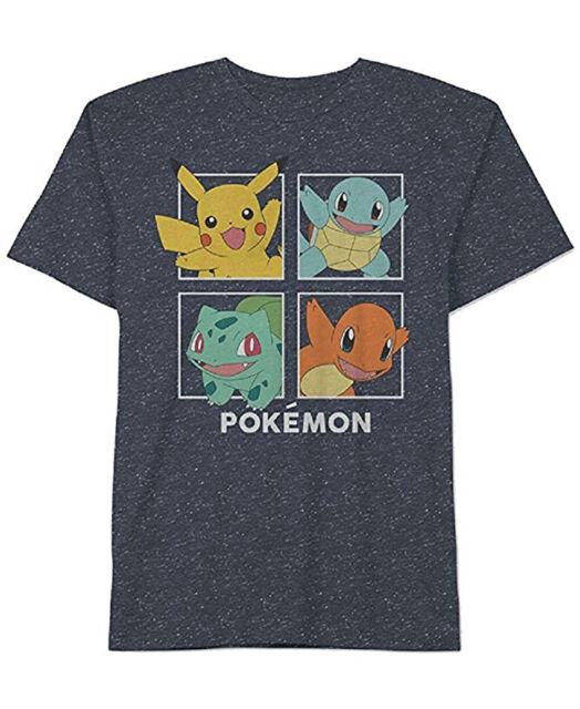 a4bd3021a New Jem Mens Pokémon Graphic Print Crew Neck Navy Sparkling Snow T Shirt Tee  M