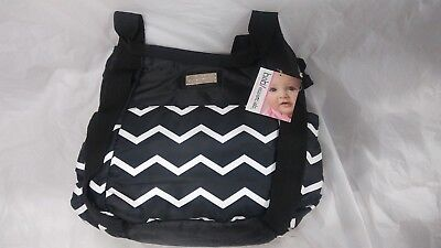 Baby Essentials Black Striped Diaper Bag & Changing Pad ...