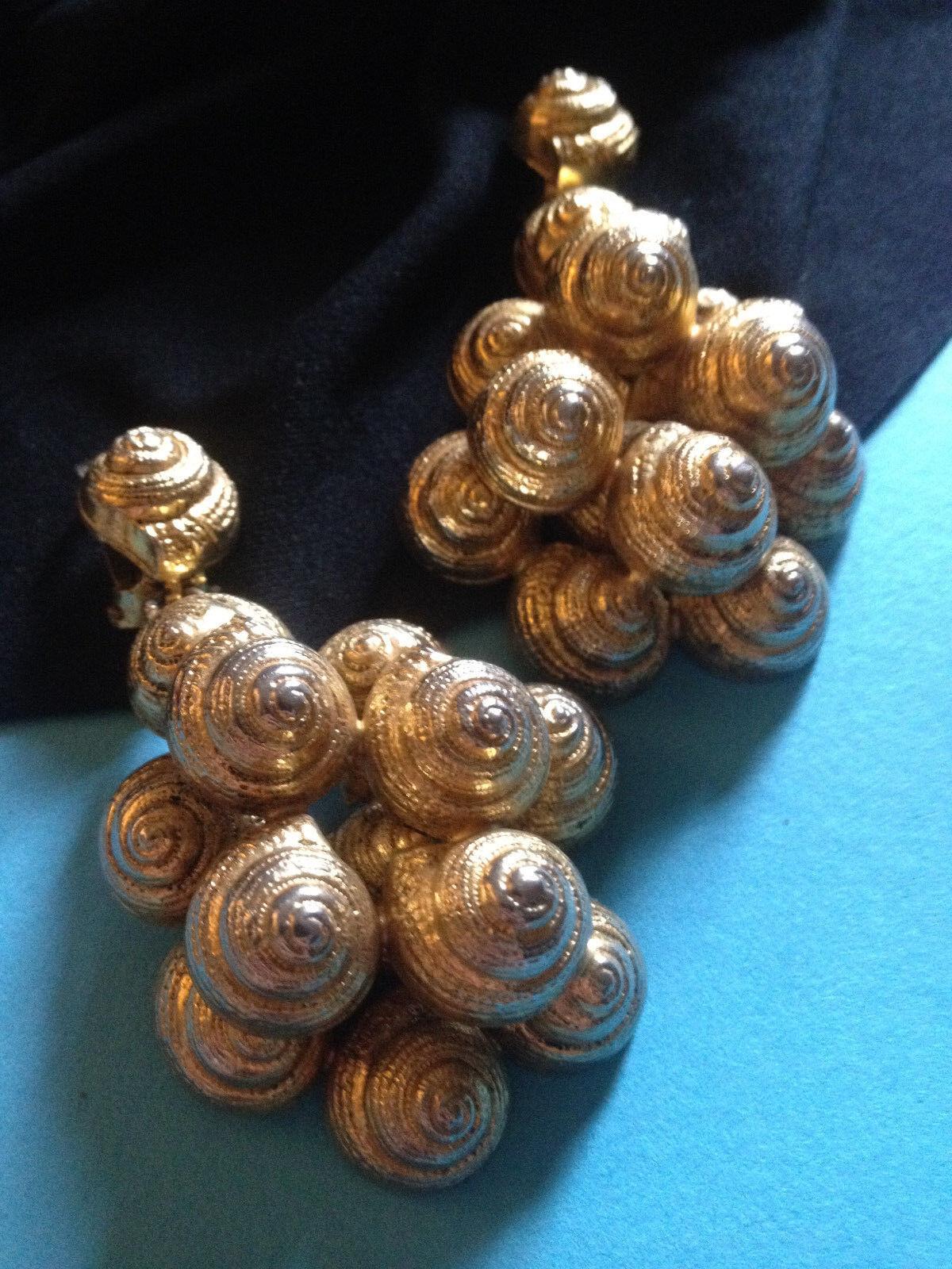 Boucles d'Oreilles Clips Vintage ESCARGOTS Signés SONIA RYKIEL PARIS    Earrings