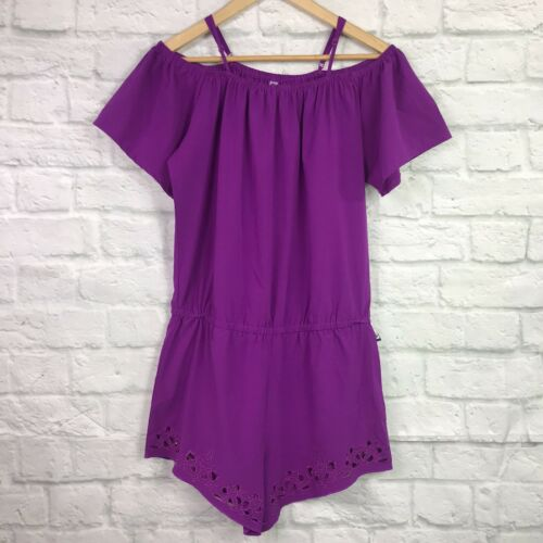 Fabletics Small Prue Romper Purple Off the Shoulde