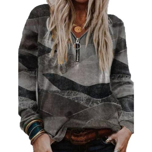 Women Stylish Printed Long Sleeves T Shirt Casual Ladies Loose Zipper Neck Tops
