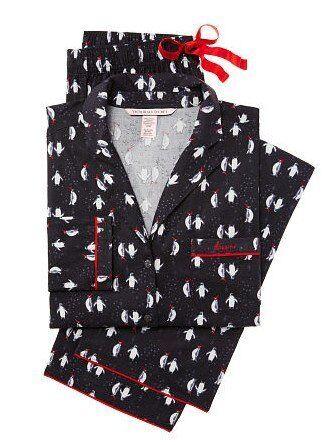 VICTORIA`S SECRET Flannel Pajama Set Penguins size   S