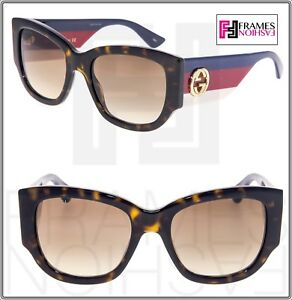 d6ccb7e4156 GUCCI 3864 Red Blue Brown Havana Gradient Women Square Sunglasses ...