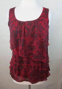DRESSBARN-Womens-Blouse-Shirt-Top-Size-S-Tiered-Ruffles-Paisley-Boho-C918