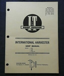 INTERNATIONAL HARVESTER 684 784 884 HYDRO 84 TRACTOR I & T SERVICE REPAIR MANUAL