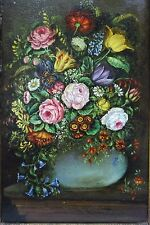 "Antique Dutch Oil Painting Flowers still life signed ""J Van Der Meer """