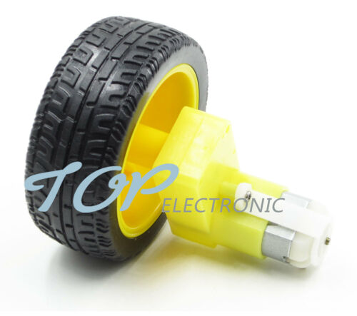 4PCS DC 3-6v Right-angle Gear Motor smart Car Robot Plastic Tire Wheel