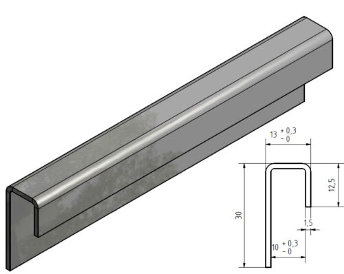 Stainless Steel W Section 3 for 10 mm Glass 1,5mm 1.4301 Outside Edge Grain 320