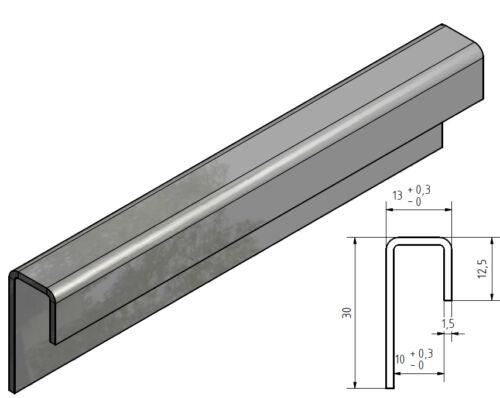 Edelstahl Einfassprofil 3 für 10 mm Glas 1,5mm  1.4301 aussen Schliff Korn 320.