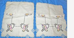 "Beautiful Finished Embroidery Two Vintage Original 12"" X 9 1/2"" Pieces Linens & Textiles (pre-1930)"