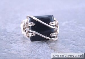 14 k Gold Filled Square Black Onyx Wire Wrapped Ring
