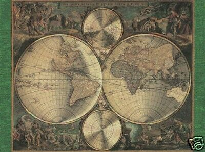 Beautiful Matted Nova Orbis World Map Foil Art Print~Affordable Art~8x10~Maps
